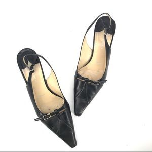 Amalfi Black Leather Slingback Kitten Heels
